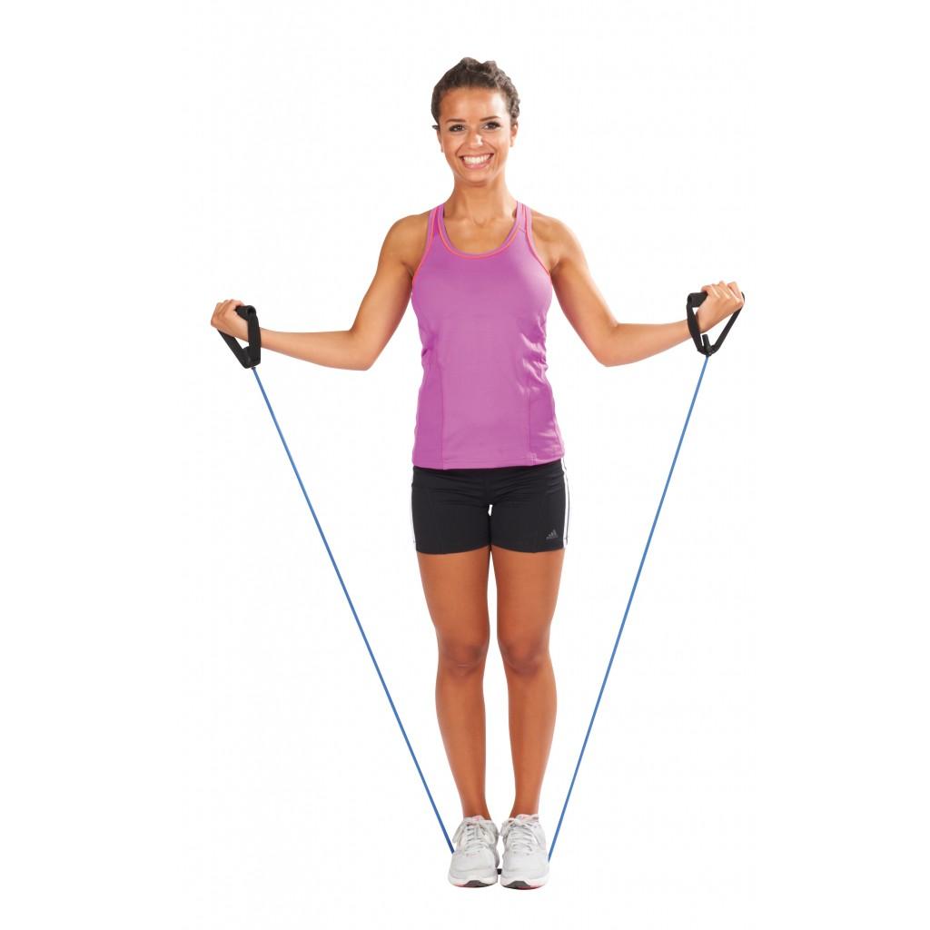 tubo elástico con asas para ejercicio